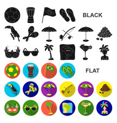 Country brazil flat icons in set collection for vector