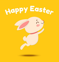 cute cartoon bunny is jumping and smiling vector image
