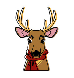 cute reindeer with scarf cartoon vector image