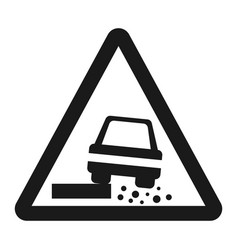 Dangerous roadside and shoulder sign line icon vector