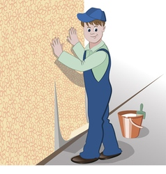 Decorator or handyman glues wallpaper to wall vector image