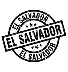El salvador black round grunge stamp vector