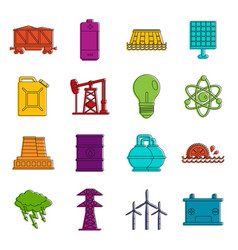 energy sources items icons doodle set vector image