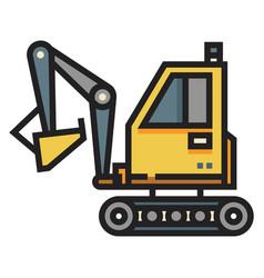Excavator linecolor vector