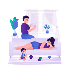 Family with a child relaxing at home the family vector