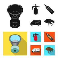 Flea special car and equipment blackflat icons vector