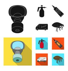 Flea special car and equipment blackflat icons vector