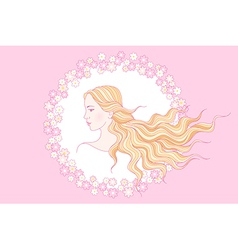floral beauty girl vector image