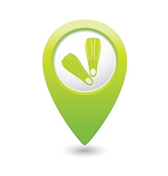 Foot fins symbol on green map pointer vector