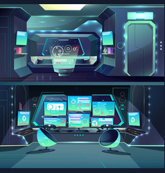 Futuristic spaceship datacenter interfaces vector