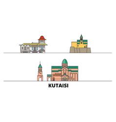 Georgia kutaisi flat landmarks vector