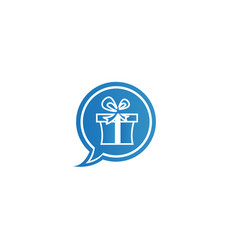 Gift box logo chat icon talk surprise vector