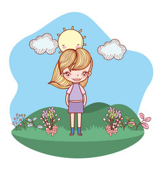 girl smiling outdoors cartoon vector image
