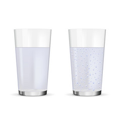 Glass still and sparkling water vector