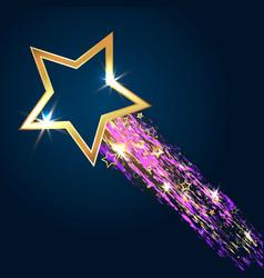 golden star on blue background vector image