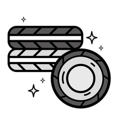 grayscale cute tires car style design vector image