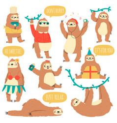 hanging sloths wild tropical animal characters vector image