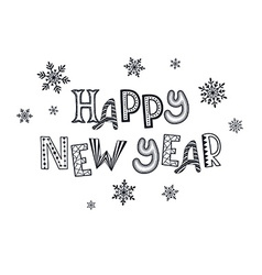 Happy new year zentangle vector