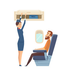 Happy stewardess character passenger in airplane vector