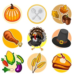 Happy Thanksgiving Sticker Icon Set vector