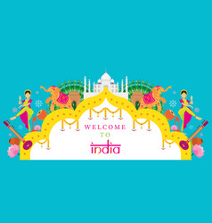 india travel attraction banner vector image