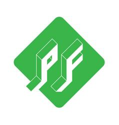 Isometric 3d font for design pf - 2-letter code vector
