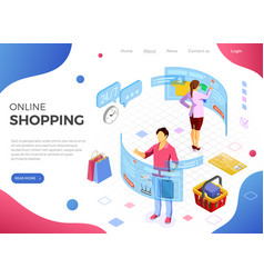 Isometric virtual augmented reality shopping vector