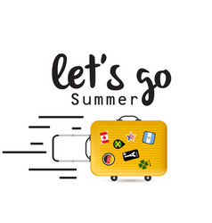Lets go summer baggage background image vector