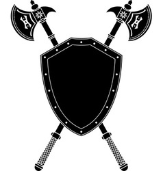 long axes and shield vector image