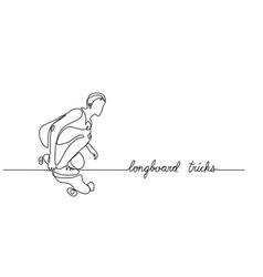 longboard skate trick simple background vector image