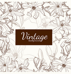 magnolia flower brown sepia outline greeting card vector image