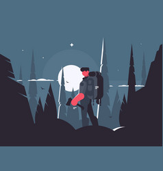 man traveler in night hike vector image vector image