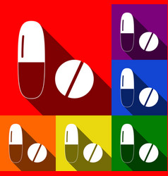 medical pills sign set of icons with flat vector image