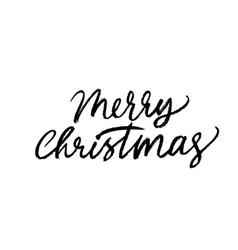 merry christmas hand drawn brush calligraphy vector image