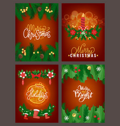 merry christmas poster with pine tree branches vector image