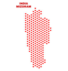 mizoram state map - mosaic of lovely hearts vector image