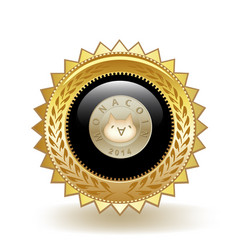 Monacoin cryptocurrency coin gold badge vector