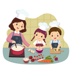 Mother and children cooking at kitchen vector