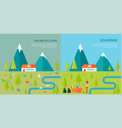 Nature pollution and scavenge concept vector