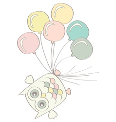 Owl with Balloons vector image