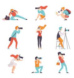 Photographers taking photos using professional vector