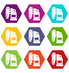 pneumatic hammer machine icon set color hexahedron vector image