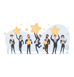 rating stars people holding in hands various vector image
