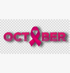 realistic pink ribbon breast cancer awareness vector image