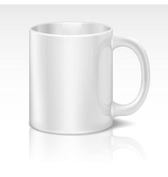 Realistic white coffee cup vector