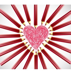 Red Heart Pencils vector image