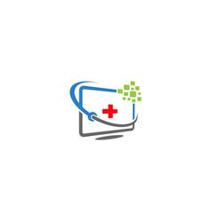 Repair desktop screen monitor logo design template vector