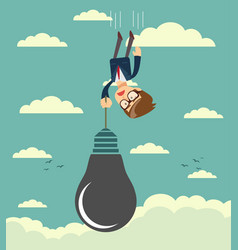 sad businessman falling holding idea bulb as vector image