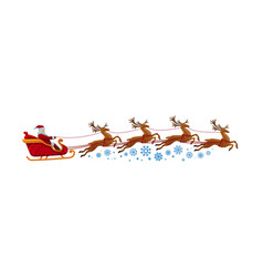 santa claus rides in sleigh with reindeer vector image