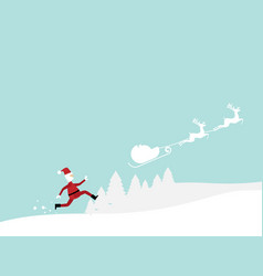 Santa claus running follow reindeer cartoon vector